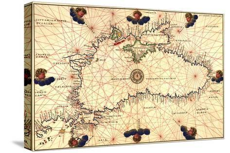 Portolan or Navigational Map of the Black Sea Showing Anthropomorphic Winds-Battista Agnese-Stretched Canvas Print