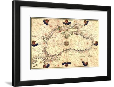 Portolan or Navigational Map of the Black Sea Showing Anthropomorphic Winds-Battista Agnese-Framed Art Print