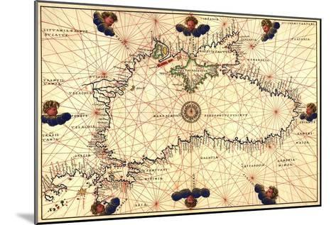 Portolan or Navigational Map of the Black Sea Showing Anthropomorphic Winds-Battista Agnese-Mounted Art Print