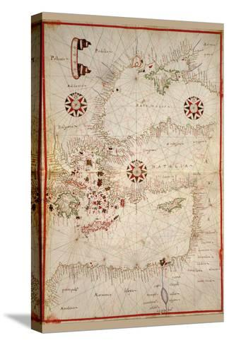 Portolan Map of Turkey, Mediterranean, Adriatic and the Agean-Joan Oliva-Stretched Canvas Print