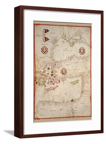 Portolan Map of Turkey, Mediterranean, Adriatic and the Agean-Joan Oliva-Framed Art Print