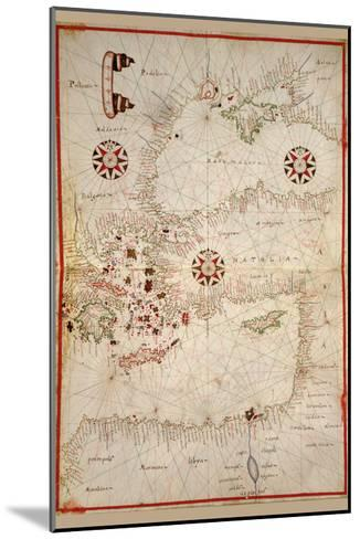 Portolan Map of Turkey, Mediterranean, Adriatic and the Agean-Joan Oliva-Mounted Art Print