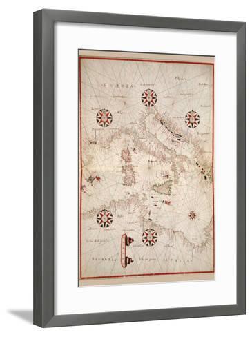 Portolan Atlas of the Mediterranean Sea, Western Europe, and the Northwest Coast of Africa-Joan Oliva-Framed Art Print