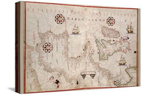 Portolan Map of Spain, England, Ireland and France-Joan Oliva-Stretched Canvas Print