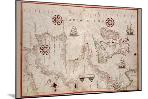 Portolan Map of Spain, England, Ireland and France-Joan Oliva-Mounted Art Print