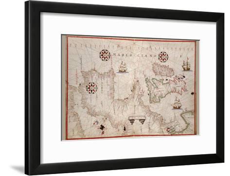 Portolan Map of Spain, England, Ireland and France-Joan Oliva-Framed Art Print