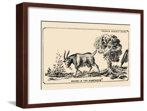 Where Is the Huntress?- French Puzzle Card-Framed Art Print