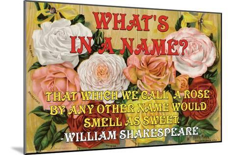 What's in a Name?-William Shakespeare-Mounted Art Print