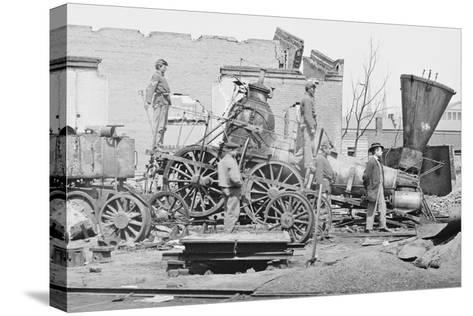 Civil War Train Wreck--Stretched Canvas Print