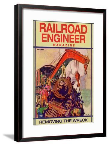 Railroad Engineer Magazine: Removing the Wreck--Framed Art Print