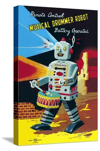 Musical Drummer Robot--Stretched Canvas Print