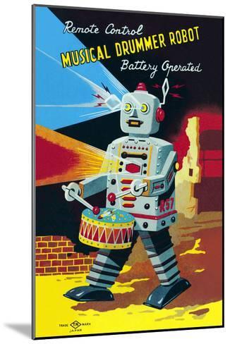 Musical Drummer Robot--Mounted Art Print