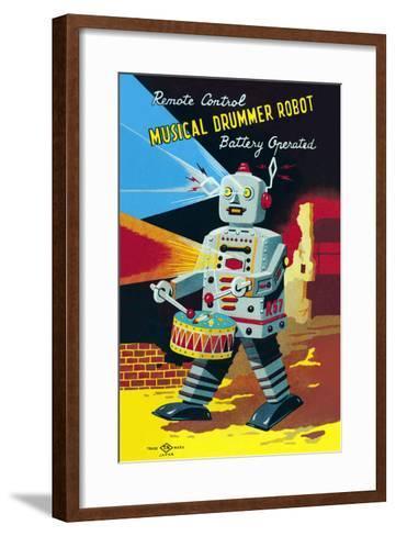 Musical Drummer Robot--Framed Art Print