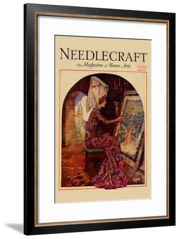 Medieval Girl Sews a Tapestry-Needlecraft Magazine-Framed Art Print