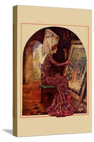 Medieval Girl Sews a Tapestry-Needlecraft Magazine-Stretched Canvas Print