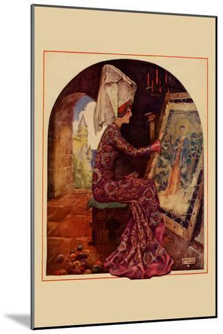 Medieval Girl Sews a Tapestry-Needlecraft Magazine-Mounted Art Print