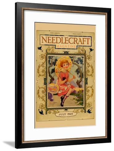 Little Girl Holds a Doll and Sports and Umbrella-Needlecraft Magazine-Framed Art Print