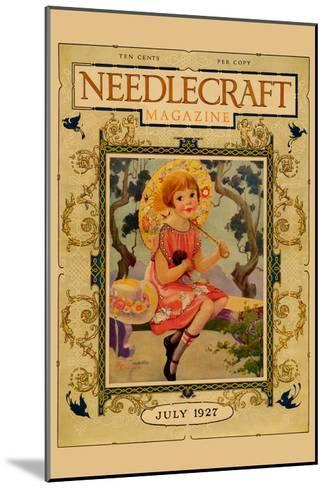 Little Girl Holds a Doll and Sports and Umbrella-Needlecraft Magazine-Mounted Art Print