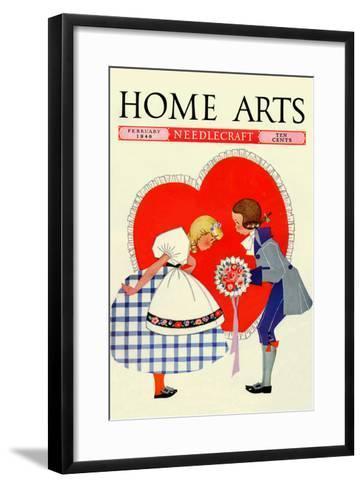 Young Boy Gives a Little Girl a Nosegay-Home Arts-Framed Art Print