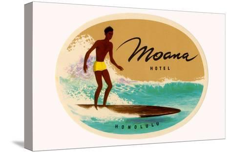 Moana Hotel Luggage Label--Stretched Canvas Print