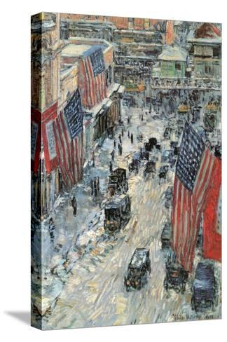 Flags on Fifth Avenue, Winter 1918-Childe Hassam-Stretched Canvas Print