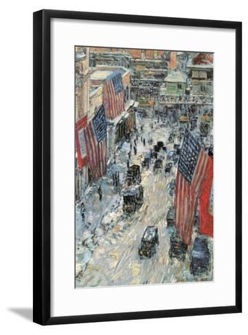Flags on Fifth Avenue, Winter 1918-Childe Hassam-Framed Art Print