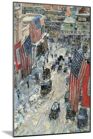 Flags on Fifth Avenue, Winter 1918-Childe Hassam-Mounted Art Print