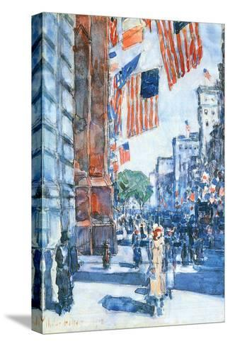 Flags, Fifth Avenue-Childe Hassam-Stretched Canvas Print