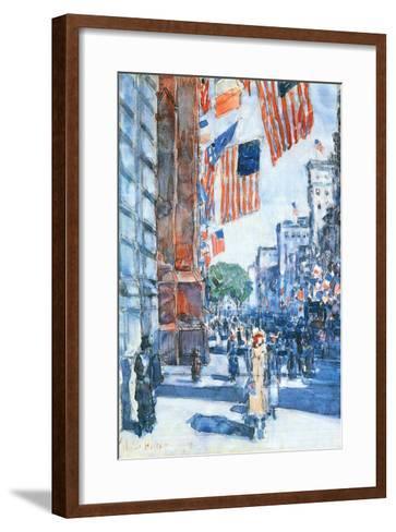 Flags, Fifth Avenue-Childe Hassam-Framed Art Print