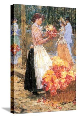 Woman Sells Flowers-Childe Hassam-Stretched Canvas Print