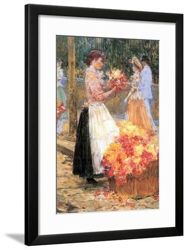 Woman Sells Flowers-Childe Hassam-Framed Art Print