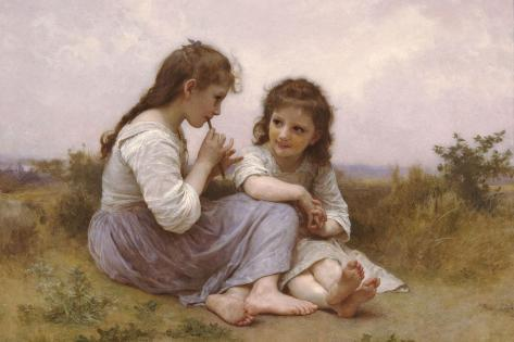 A Childhood Idyll-William Adolphe Bouguereau-Stretched Canvas Print