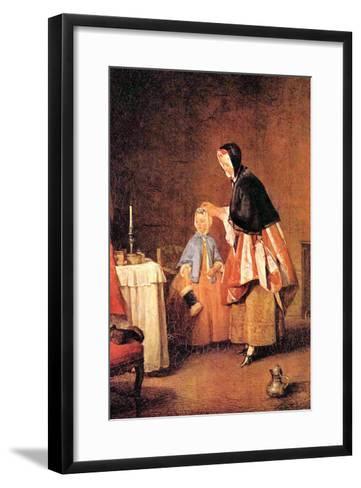 The Morning Toilet-Jean-Baptiste Simeon Chardin-Framed Art Print