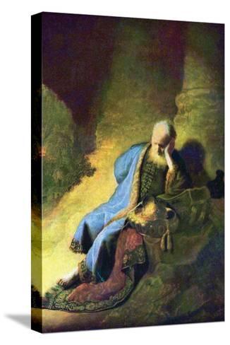 Jeremiah Mourning over the Destruction of Jerusalem-Rembrandt van Rijn-Stretched Canvas Print