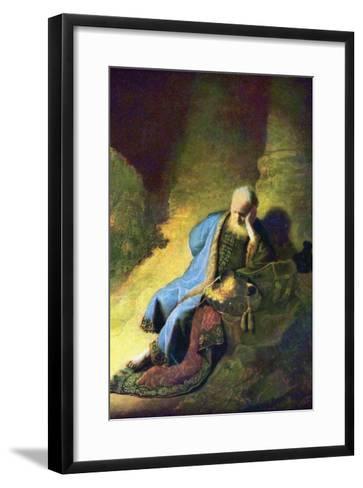 Jeremiah Mourning over the Destruction of Jerusalem-Rembrandt van Rijn-Framed Art Print