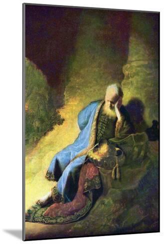 Jeremiah Mourning over the Destruction of Jerusalem-Rembrandt van Rijn-Mounted Art Print