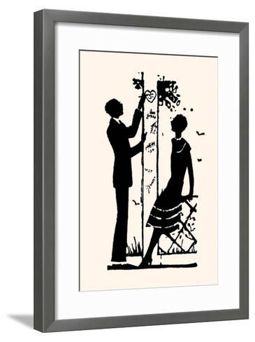 Suitor Pulls a Heart from a Trellis-Maxfield Parrish-Framed Art Print