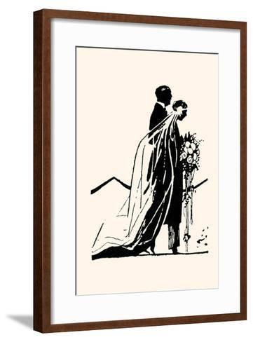 Couple Side by Side Moving Toward a Wedding Ceremony-Maxfield Parrish-Framed Art Print