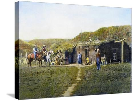Pioneer's Sod House, 1887--Stretched Canvas Print