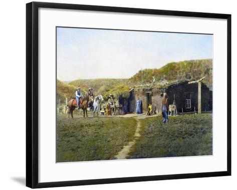 Pioneer's Sod House, 1887--Framed Art Print