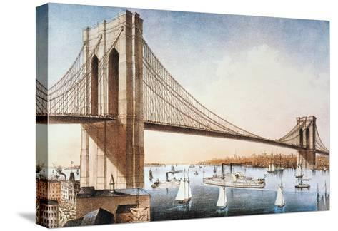 Brooklyn Bridge, NYC, 1881-Currier & Ives-Stretched Canvas Print