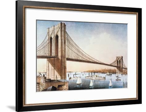 Brooklyn Bridge, NYC, 1881-Currier & Ives-Framed Art Print