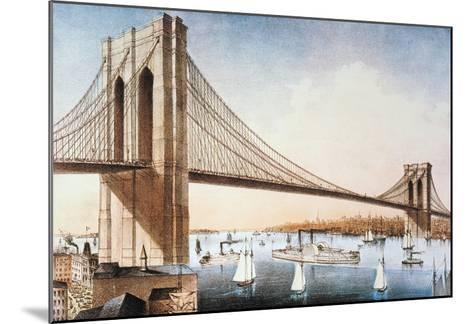 Brooklyn Bridge, NYC, 1881-Currier & Ives-Mounted Giclee Print