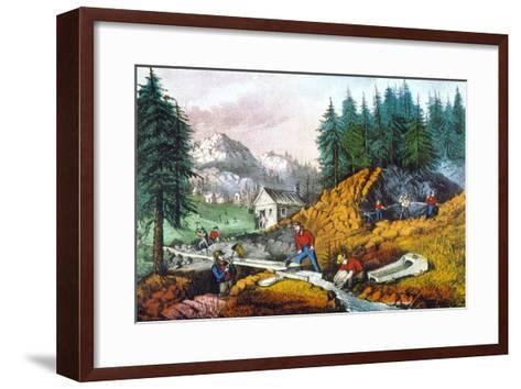 California: Gold Mining-Currier & Ives-Framed Art Print