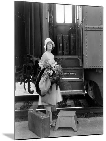 Silent Film Still: Trains--Mounted Giclee Print