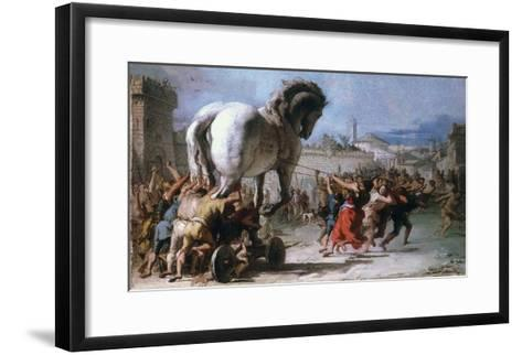 Trojan Horse-Giovanni Domenico Tiepolo-Framed Art Print