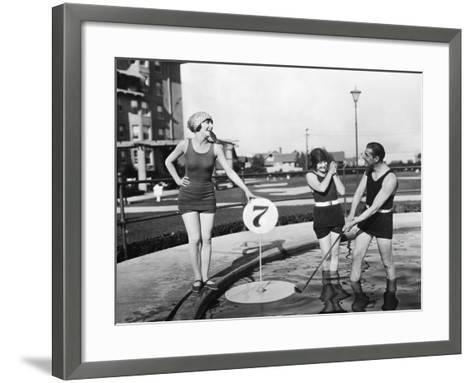 Silent Film Still: Golf--Framed Art Print