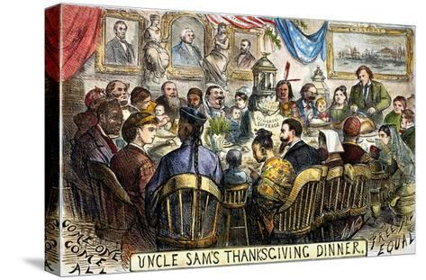 Thanksgiving Cartoon, 1869-Thomas Nast-Stretched Canvas Print
