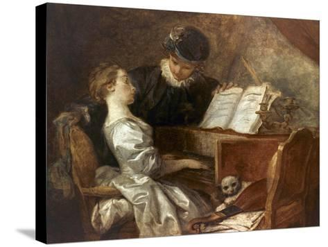 The Music Lesson-Jean-Honor? Fragonard-Stretched Canvas Print