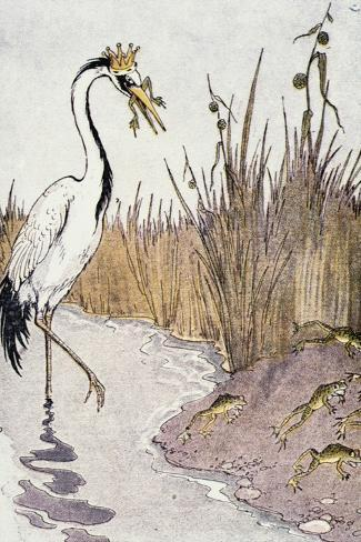 Aesop: Frogs Wish for King-Milo Winter-Stretched Canvas Print